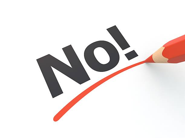 A red pencil underlining the word no on paper No! underlined by pencil single word no stock pictures, royalty-free photos & images