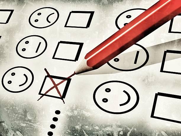 red pencil used to fill a customer satisfaction form - barometer bildbanksfoton och bilder