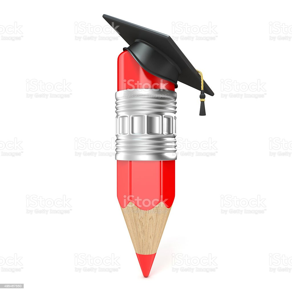 Red pencil with a graduation cap. Education concept. 3D render stock photo