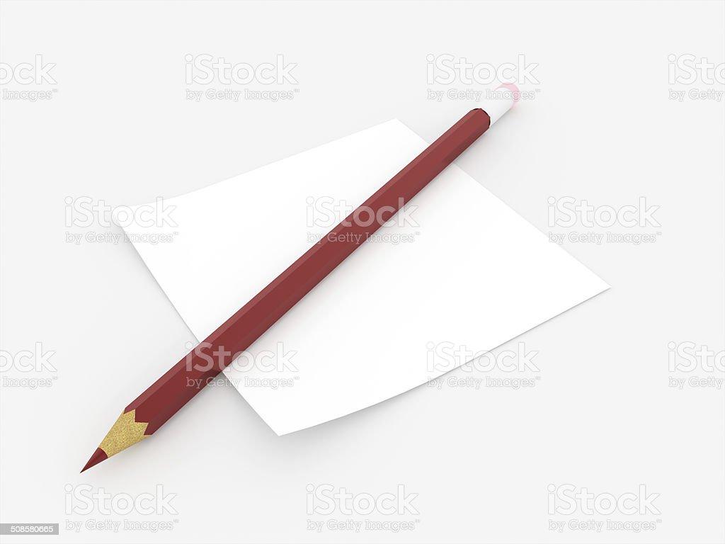 Lápis vermelho com nota papel considerada - foto de acervo