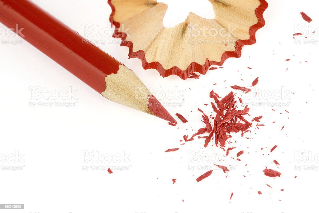 Red pencil with shavings royalty-free stock photo