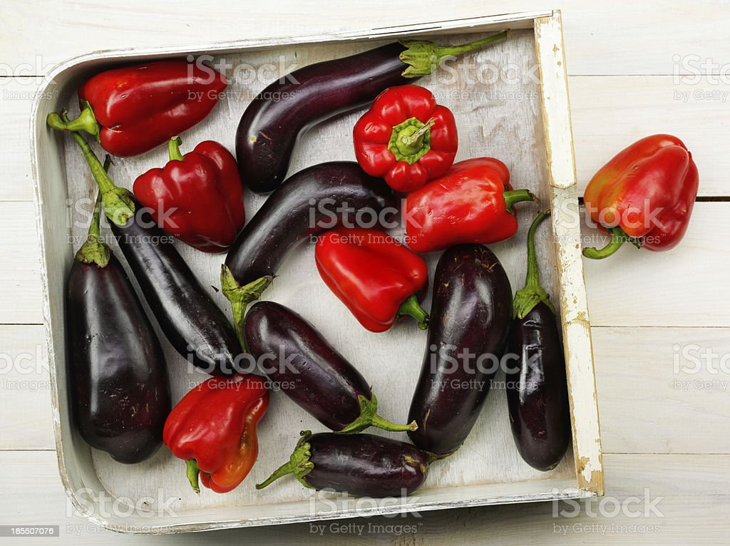 red pepper and eggplant royalty-free stock photo