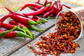 Red chili peppers and flakes