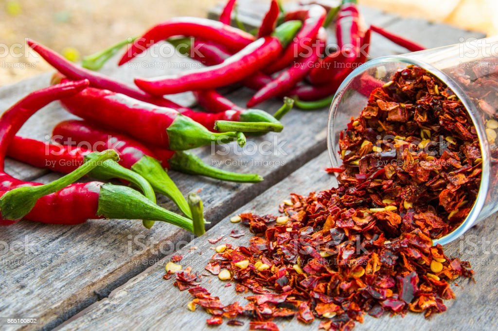 Red Pepper Flakes and red Chili stock photo