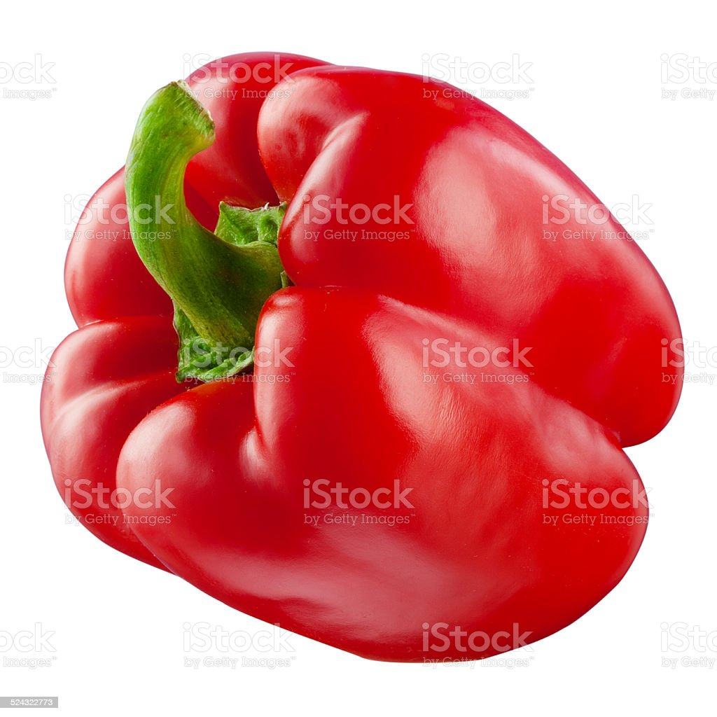 Red pepper. Fresh paprika isolated on white. With clipping path stock photo