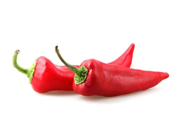 在白色背景中分離的紅辣椒 - 紅燈籠椒 個照片及圖片檔