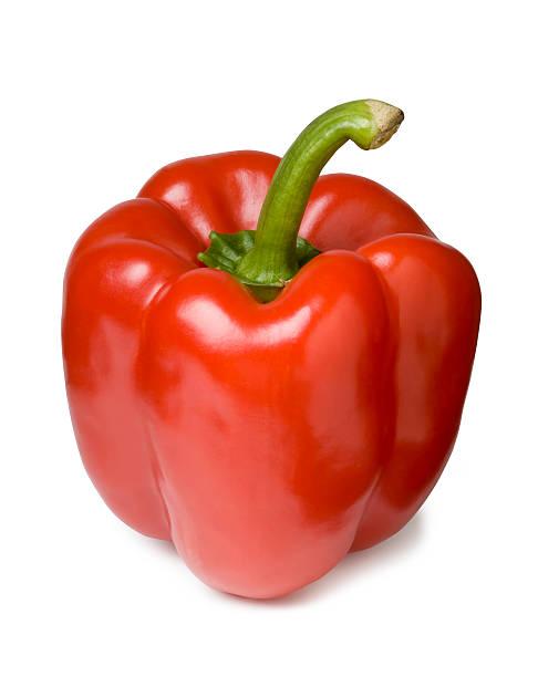vermelho pimenta - red bell pepper isolated imagens e fotografias de stock