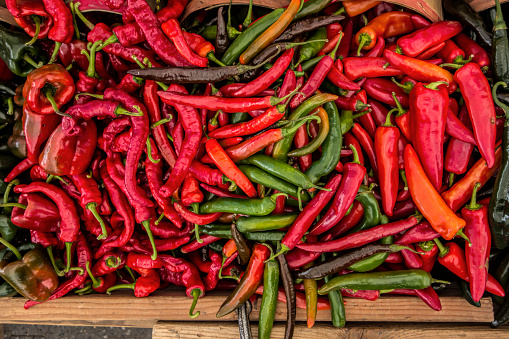 red peppers in farmer's market