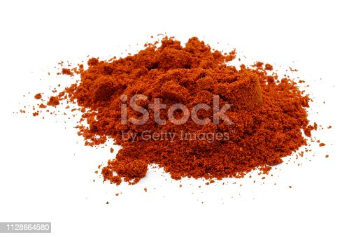 Red pepper powder isolated on white background