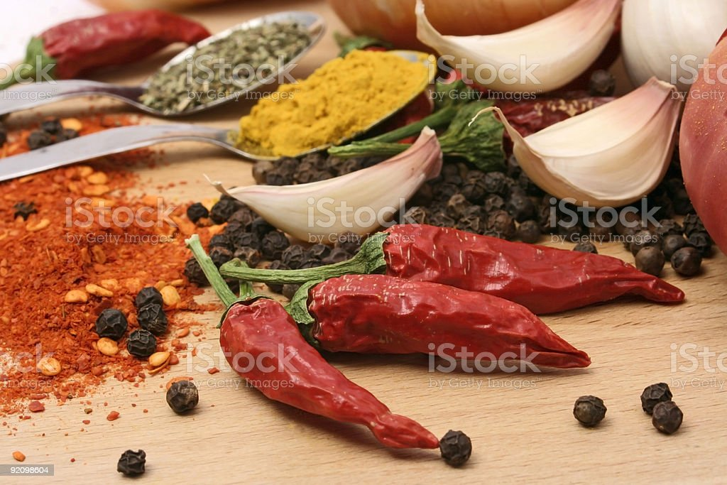 Red peppers and aspices royalty-free stock photo