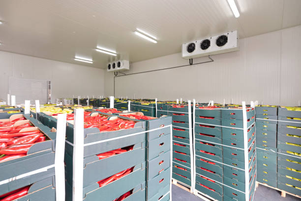 Red Peppers Cold Storage stock photo