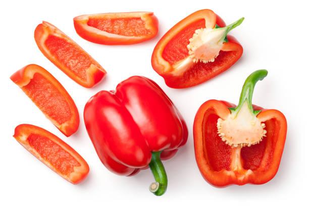 red peppers isolated on white background - papryka słodka zdjęcia i obrazy z banku zdjęć