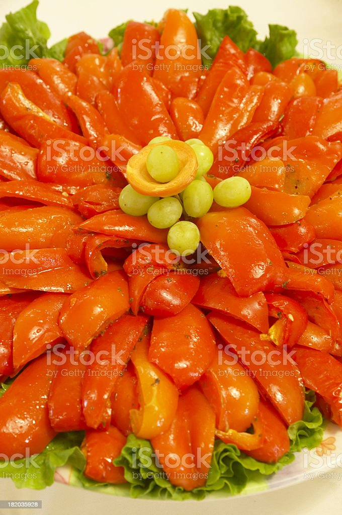 Red Peppers on the plate stock photo