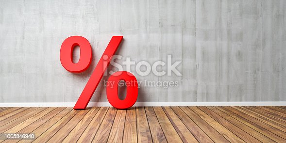 istock Red Percent Sign on Brown Wooden Floor Against Gray Wall - Sale Concept - 3D Illustration 1005846940