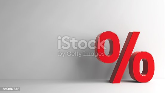 istock Red Percent sign 850887642
