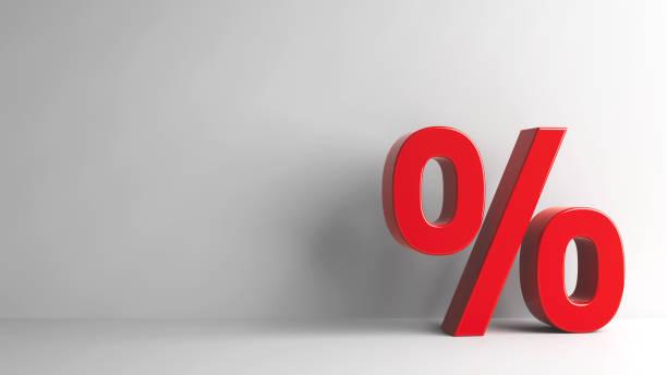 Sinal de porcentagem vermelho - foto de acervo