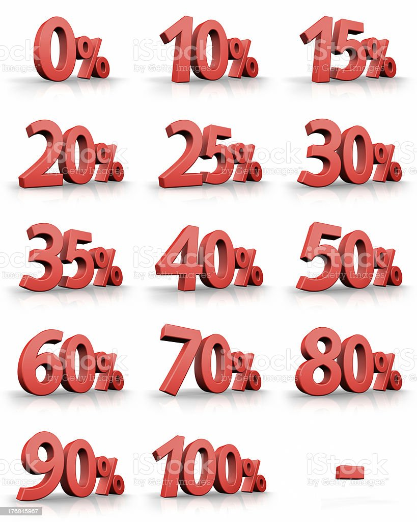 Red Percent Tags royalty-free stock photo