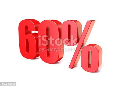 istock Red percentage sign 60. 3D 522482626