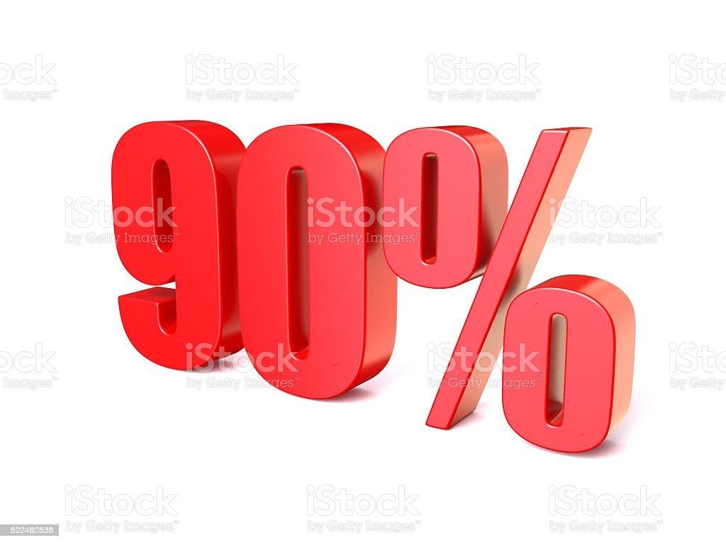 赤いパーセント記号 90 ます。3 D ストックフォト