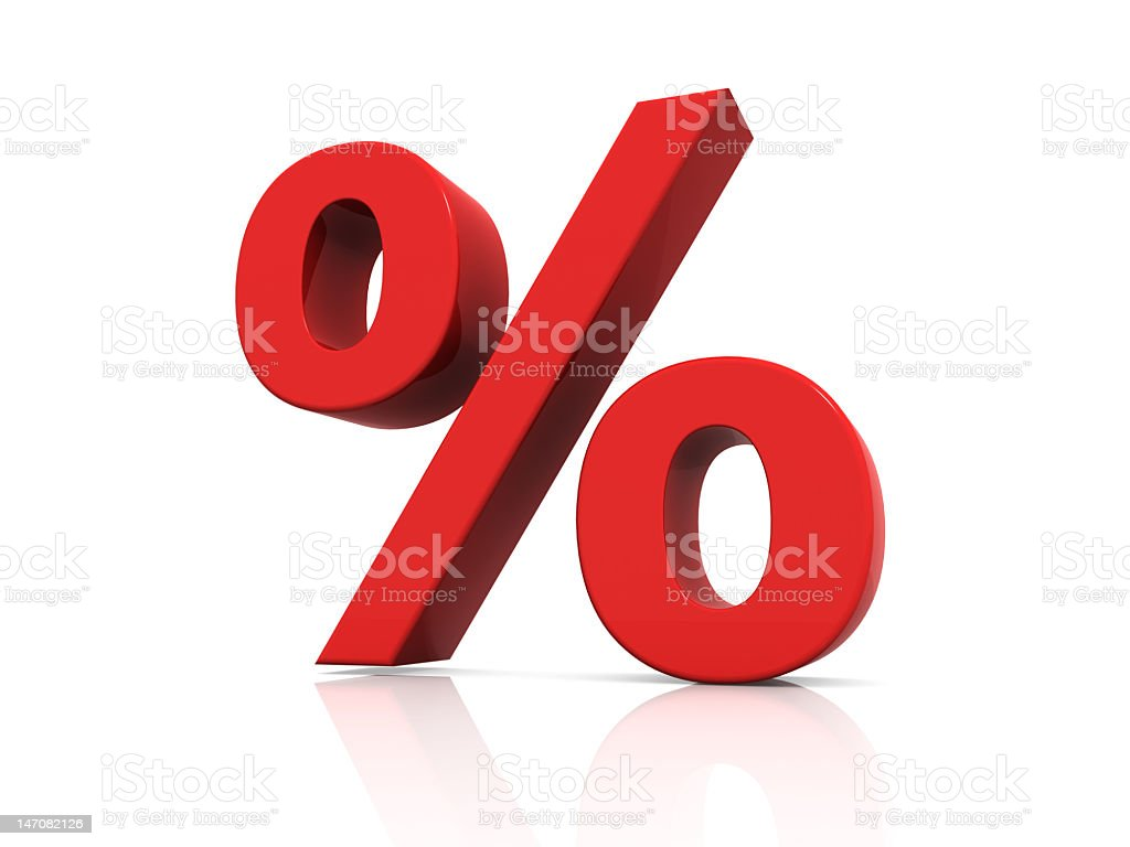 red percentage sign stock photo