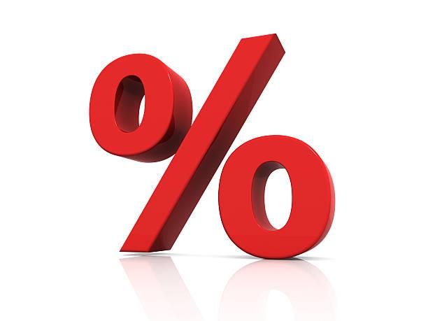 red Sinal de Percentagem - foto de acervo