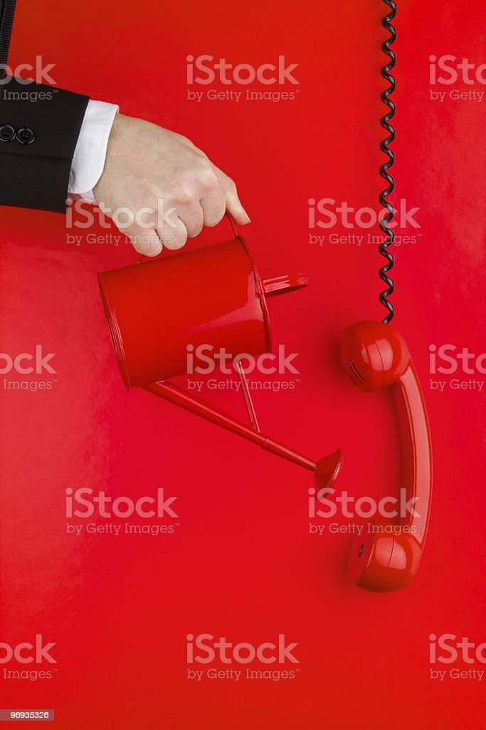 Red phone and wall royalty-free stock photo
