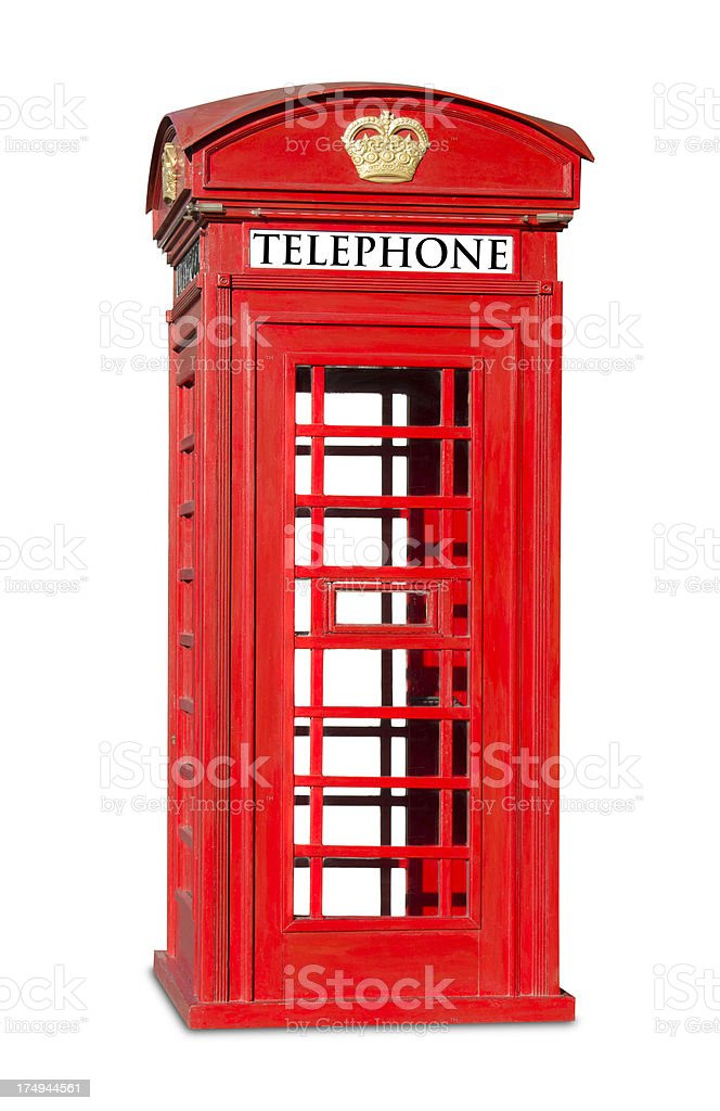 Red phone booth isolated on white stock photo