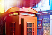 Red england street phone booth