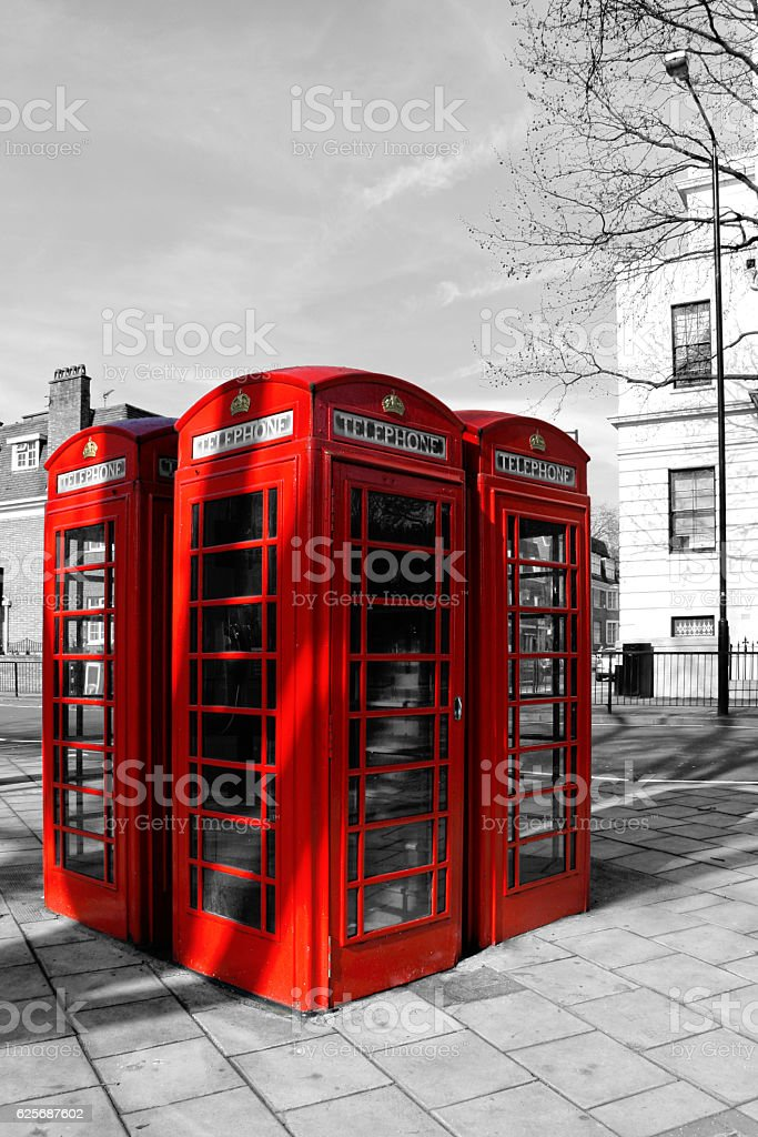 Red Phone Booths in London stock photo