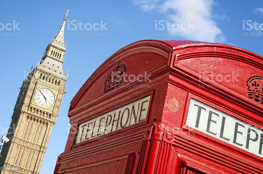Red phone box and Big Ben royalty-free stock photo