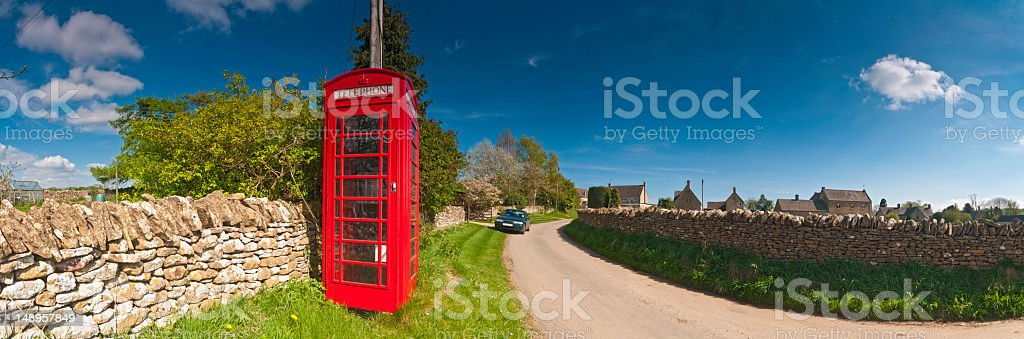 Red phone box dry stone walls panorama royalty-free stock photo