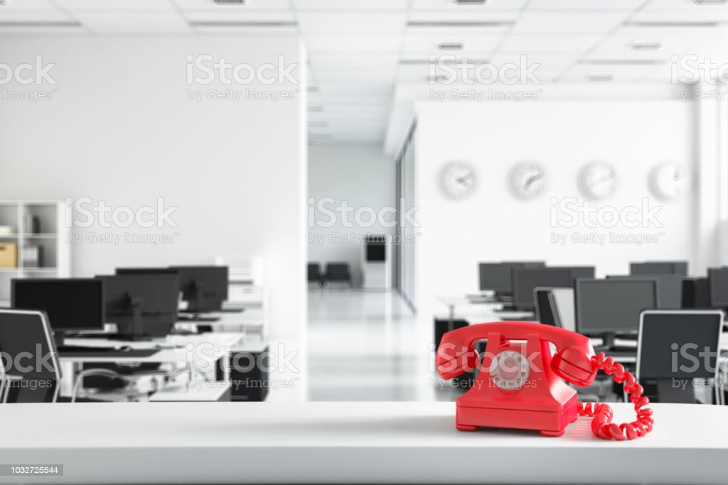 Communication concept with red telephone