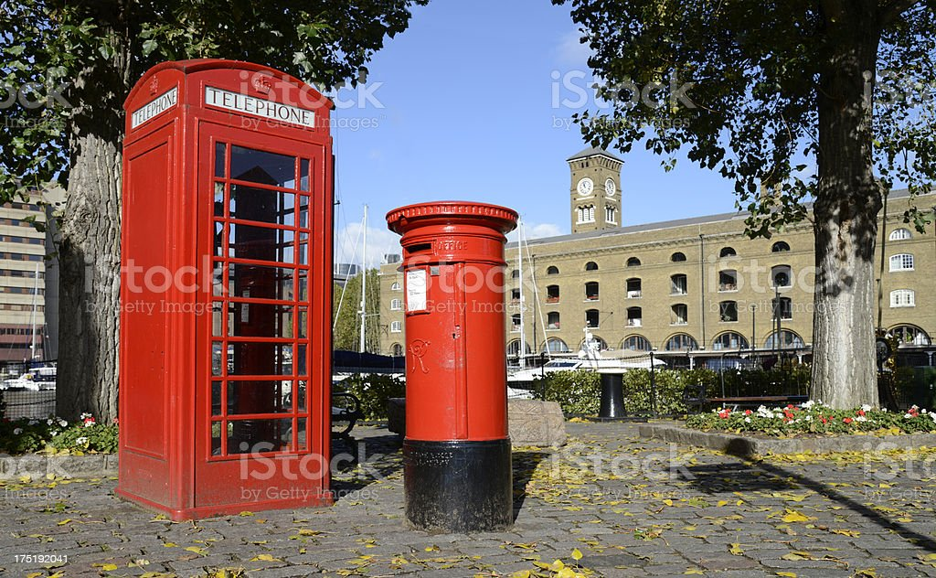 Red Phone Kiosk and post box.  London. royalty-free stock photo