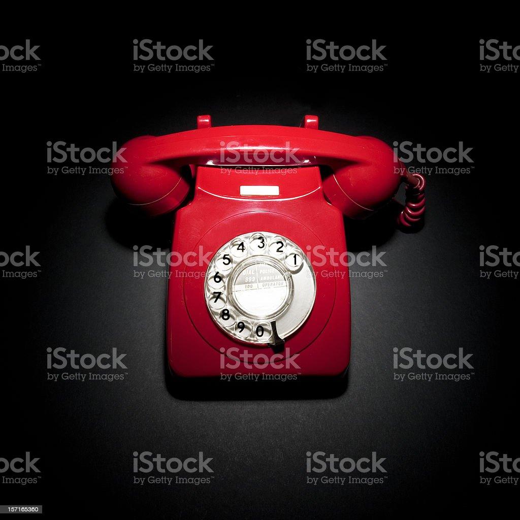 Rote Telefon auf Schwarz – Foto
