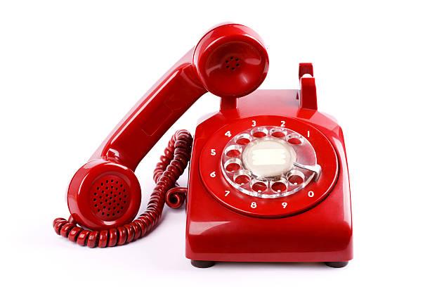 telefono rosso - cornetta telefono foto e immagini stock