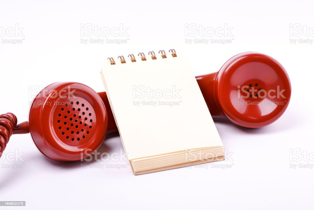 Red Phone with Notepaper royalty-free stock photo