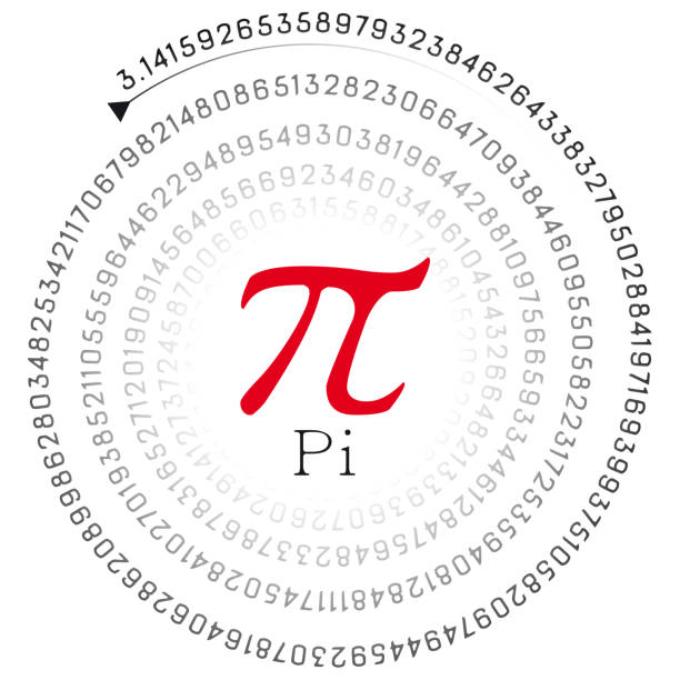 red pi sign and the number in spiral form stock photo