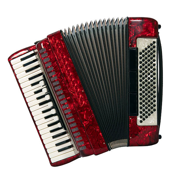 a red piano accordion seen from above - accordion stock photos and pictures