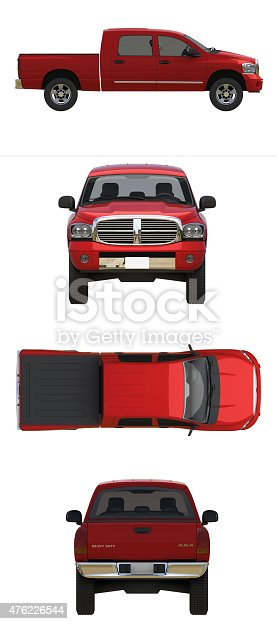 istock red pick up truck 476226544