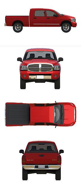 red pick up truck - pikap stok fotoğraflar ve resimler