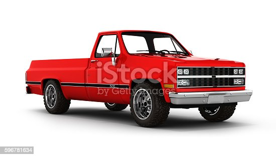 istock Red pickup truck isolated on white 3d 596781634