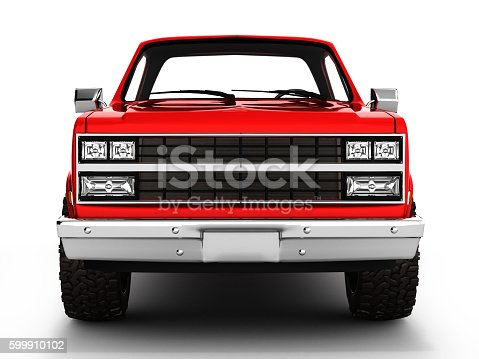 istock Red pickup truck isolated on white 3d 599910102