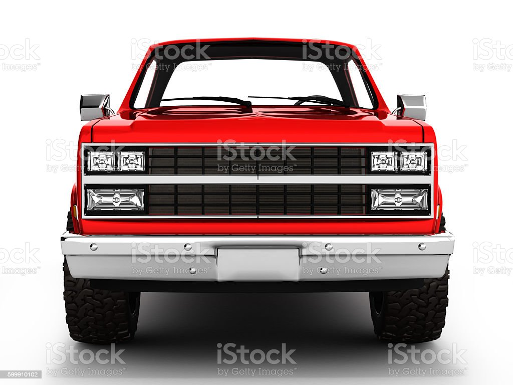 Red pickup truck isolated on white 3d – Foto