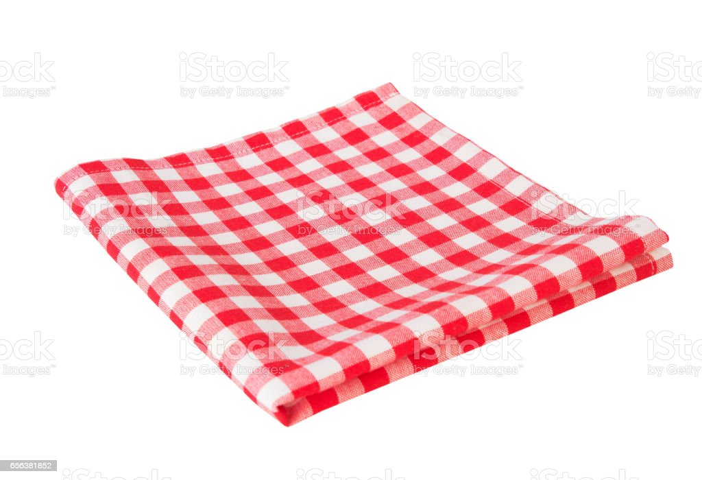 Red picnic cloth isolated on white. stock photo