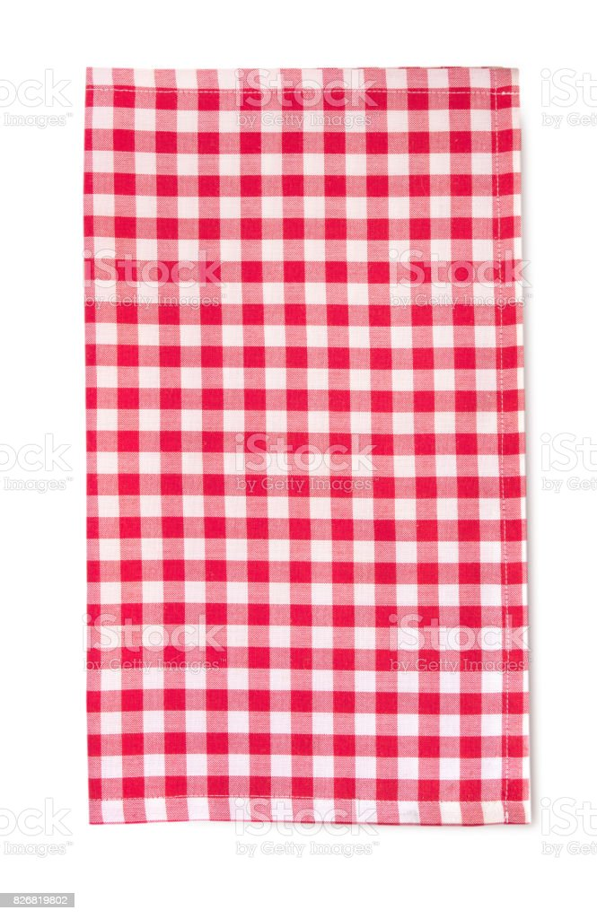 Red picnic cloth vertical isolated with shadow. stock photo