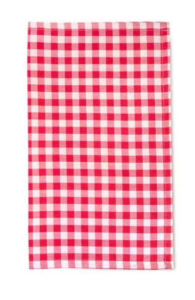 vertikale rote picknick tuch isoliert mit schatten. - rotes oberteil stock-fotos und bilder