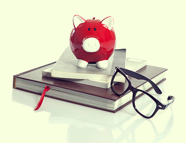 Red Piggy Bank with books stock photo