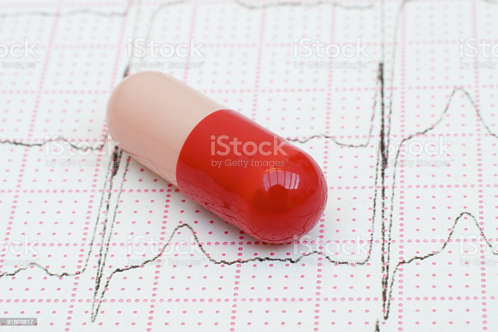 Red Pill on a Cardiogram Heart Trace royalty-free stock photo
