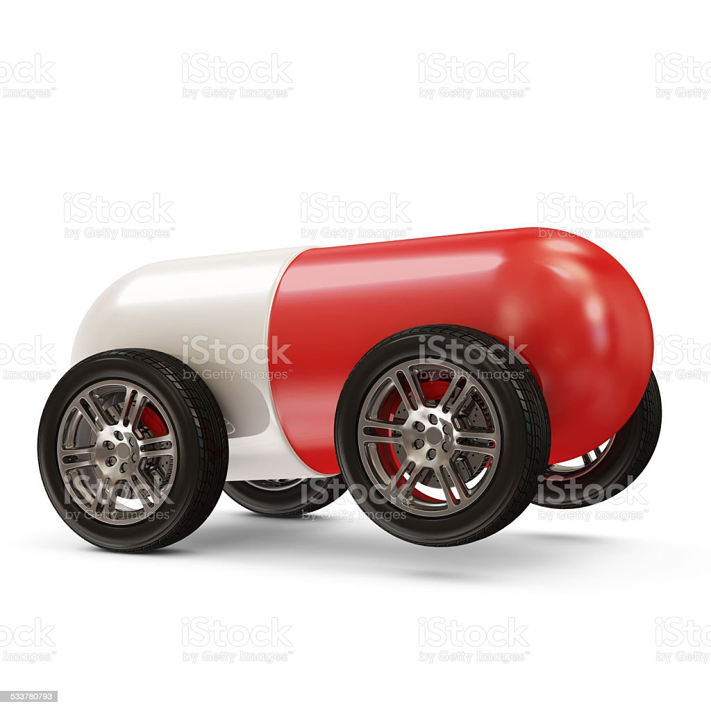 Red Pill on Wheels isolated on white background stock photo