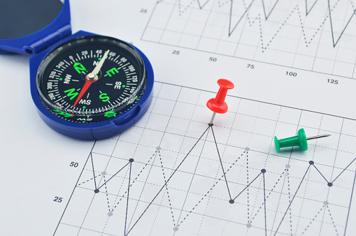 Red Pin And Compass On Graph Paper Success Concept Stock Photo - Download Image Now